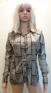 70s Disco Shirt Grey Black Button Down SM Unisex