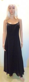 Spaghetti Strap 80s Black Maxi Dress A-Line Formal