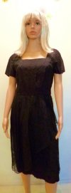 1950s Day Dress Black Cotton Eyelet Short Sleeves Peplum