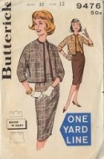 Butterick 9476 One Yard Bolero Jacket Vintage 60s Sewing Pattern