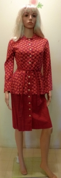 50s Vintage Day Dress Cotton Blend Bold Print Shirt Dress with Peplum