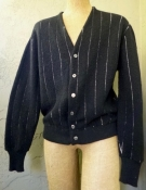 Vintage 60s Men's Black Cardigan Sweater With White Pinstripes - XL