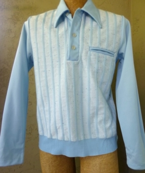 Men's Powder Blue Polyester 70s Leisure Shirt