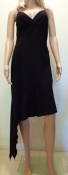 70s Black Disco Dress Spaghetti Straps High Low Hemline
