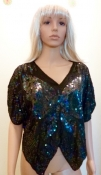 Black Butterly Beaded 70s Shirt Disco Large
