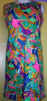 Real 60s Mini Dress LG - Rainbow Color Burst- Large Plus Size