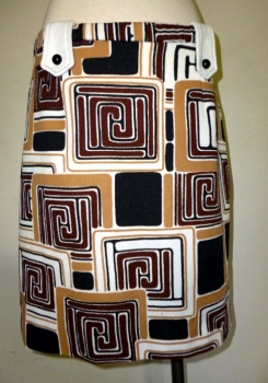Vintage 60s Scooter Mini Skirt - Mod Geometric Print Rare Large Size