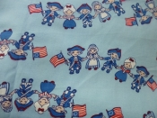 Vintage Fabric- Kids Heavyweight Cotton - Bicentennial Character Print- Americana