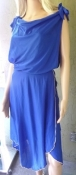 Blue 80s Disco Dress - Cowl Neckline, Tie Shoulders, Contrasting Lettuce Stitching,  Uneven Hemline