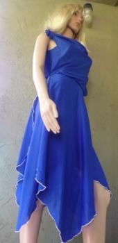 Blue Scarf Uneven Hemline Tie Strap Dress 80s Vintage- Pandemic SALE!!
