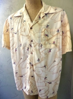 Mount Breast More Mountain Climber Men's Disco Polyester Shirt with Front Pocket XL