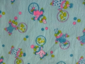 Vintage Fabric- Clown Print 60s 70s Flannel Kids Design