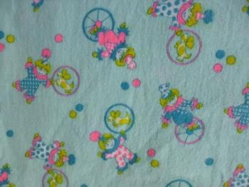 Vintage Fabric- Clown Print 60s 70s Flannel Kids Design