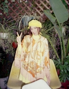 Groovy 60s Nylon Printed Cape with Fringe Trim Orange, Yellow White - SM - Med