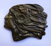 Vintage Belt Buckle - Indian Chief Head Profile - Native American - Western Icon