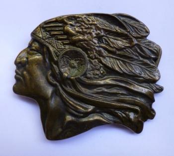 Vintage Belt Buckle - Indian Chief Head Profile - Native American - Western Icon