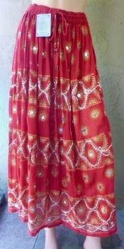 Vintage Mirror Drawstring Skirt -Free Size New With Tags - Made in Nepal