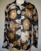 80s Sheer Shirt Brown and Black Floral Print