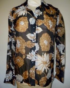 80s Sheer Shirt Brown and Black Floral Print