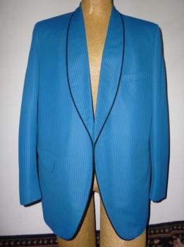 Mod 60s Vintage 1960s MOD Men's Periwinkle Blue with Black Palm Beach Suit Tuxedo Jacket Mod XL $225