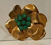 Vintage Metal Flower Pin Goldtone with Jade Center
