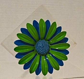 Green and Blue 60s Daisy Flower Metal Pin Large