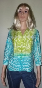 Vintage 60s 70s Vera Shirt Turquoise Green Abstract Butterfly Print 100% Cotton - Petite Small Teen