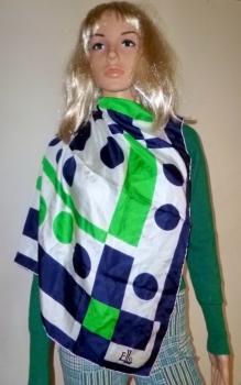 Vintage Scarf Elle 60s 70s Designer  Green, White and Blue