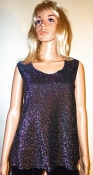 70s Disco Top - Silver Sparkle Sleeveless Shirt Bust 38 Inches