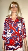 Groovy 1960s Hawaiian Shirt Red White and Blue RARE - Bust 40