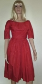 Red Dress Vintage 50s Cocktail Style Mad Men -Ruched Waist Petite -X SM Child Moire Fabric