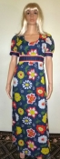 Authentic 60s Vintage Flower Print Hippie Maxi Dress