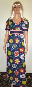 Authentic 60s Vintage Flower Print Hippie Maxi Dress