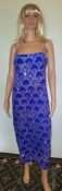 80s Disco Dress Blue Silver Sparkler Midi Length Medium