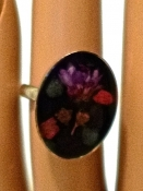 70s Vintage Resin Dried Flower Ring Adjustable