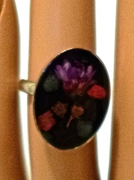 70s Vintage Resin Dried Flower Ring Adjustable