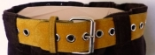 60s 70s Yellow Belt Silver Round Eyelets All Around Medium-Large  36 inches or 92 CM LIKE NEW