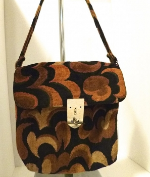 60s Vintage Pocketbook - Brown & Black Groovy Swirl- Purse Shoulder Bag