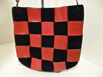 60s Red and Black Leather Woven Checkerboard Vintage Shoulder Bag Purse