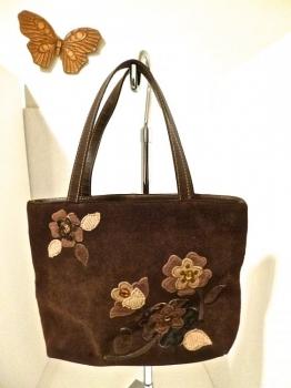 Brown Suede 60s 70s Flower Purse Handbag Pocketbook