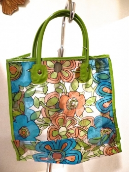 70s Mini Carrying Bag Avocado Green and Blue Groovy Flowers NWOT