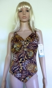 Vintage 80s Bathing Suit New With Tags - Animal Print 1 Piece Support Style