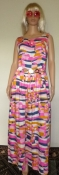 SALE Printed Jumpsuit Palazzo Bellbottom  Sleeveless Pink Mod Print - Ladies Bust 40 Waist 32