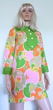 60s Vintage Cotton Linen Blend Go Go Mini Dress Bold Print Petite SM Child-Teen