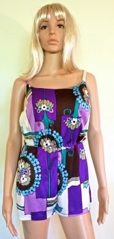 1960s Playsuit Bathing Suit Purple and Blue Small Petite