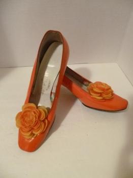 60s Lucite Heel Happy Go Lightly Mod Orange Go Go GIrl Costume Shoes USA 7