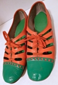 Mid-Century Mod Green Orange 60s Go Go Girl Shoes