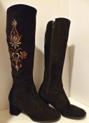 60s Suede Go Go Boots Brown Suede Embroidered