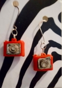 Red Earrings - Vintage Film Camera Charms - Hand-Assembled