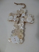 Vintage Button Encrusted Cross Hand Crafted Folk Art